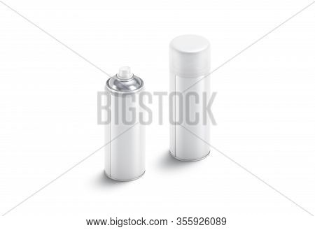 Blank White Opened And Closed Spray Can Mock Up, Isolated, 3d Rendering. Empty Air Sprayer With Flui