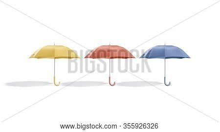 Blank Colored Opened Umbrella Mockup Stand, Front View, 3d Rendering. Empty Yellow, Red And Blue Par