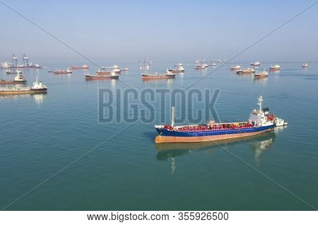 Oil Tanker, Gas Tanker In The High Sea.refinery Industry Cargo Ship. Top View,aerial View,thailand,