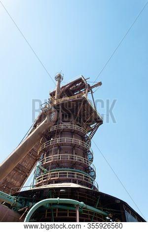 Sloss Furnaces National Historic Landmark, Birmingham Alabama Usa, Bright Sun On Tower And Chute Fro