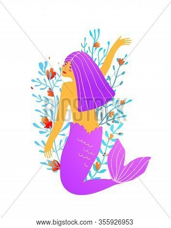 Adult Quirky Mermaid Modern Design With Florals And Corals In Electric Purple For Print Or Tattoo.