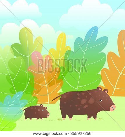 Mother Boar Or Pig And Little Piglet Kid Cub, Family Walking In The Forest Nature Watercolor Style C