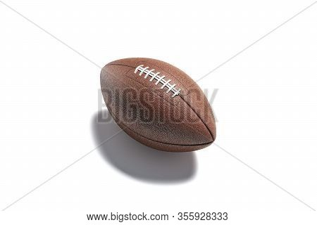 Blank Brown American Soccer Ball Mockup, Side View, 3d Rendering. Empty Rugby Or Football Leather Ba