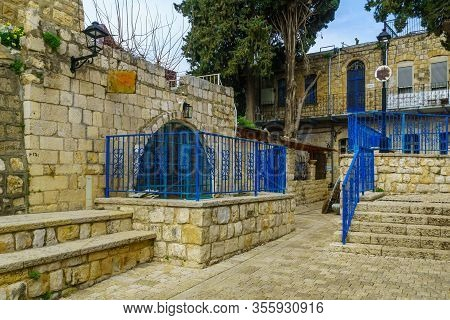 Safed, Israel - March 10, 2020: View Of An Alley In The Artists Quarter Of The Old City Of Safed (tz