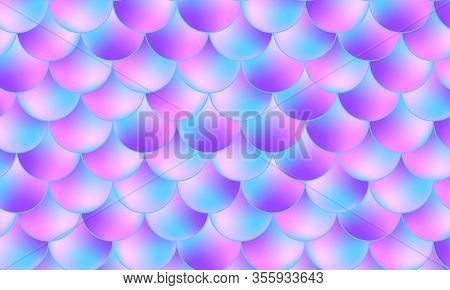 Mermaid Scales. Fish Squama. Kawaii Pattern. Watercolor Holographic Background. Color Vector Illustr