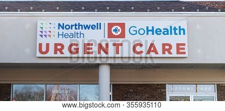West Islip, New York, Usa - 16 March 2020: Northwell Health Urgent Care Center Sign On Store Front.