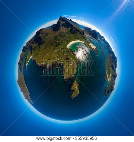 Mini planet Lofoten is an archipelago in the county of Nordland, Norway. Is known for a distinctive scenery with dramatic mountains and peaks, open sea and sheltered bays, beaches and untouched lands.