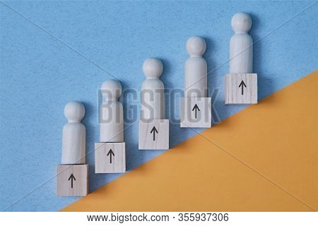 Career Development. Growth Success Process. Progress And Potential. Career Ladder Path With People M