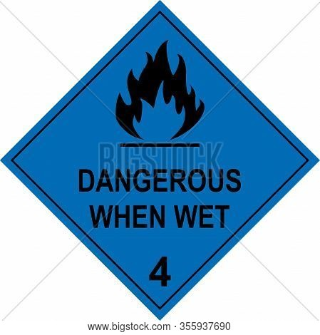 Flammable Solid Dangerous When Wet Caution Sign. Dangerous Goods Placards Class 4. Black On Cyan-blu