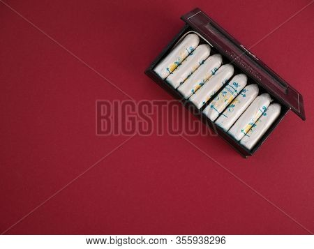 Usa, March 2020. O.b. Original Normal Tampons In A Small Box. Ob Is Global Brand Of Feminine Hygiene