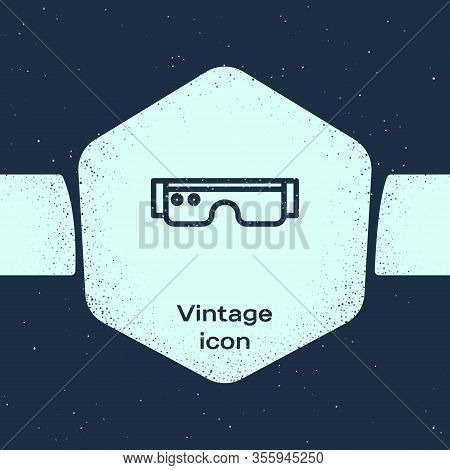 Grunge Line Smart Glasses Mounted On Spectacles Icon Isolated On Blue Background. Wearable Electroni