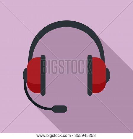 Customer Headset Icon. Flat Illustration Of Customer Headset Vector Icon For Web Design