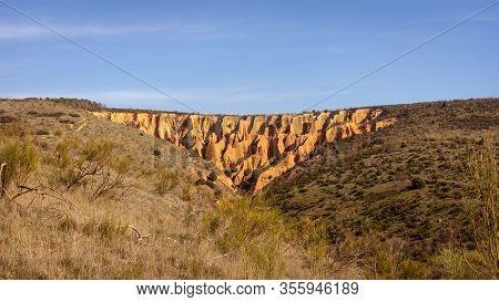 View Of Las Cárcavas In Madrid, Spain. Trekking. Nature Concept.