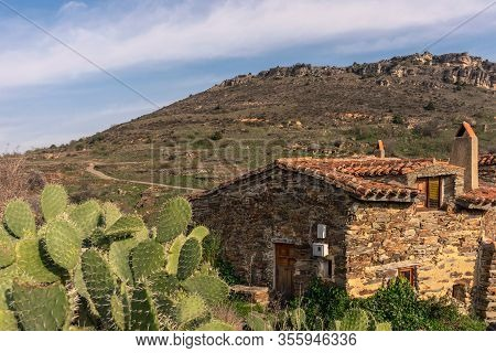 Panoramic View Of A Stone House In Patones De Arriba On A Sunny Day Madrid, Spain. Landscape Concept