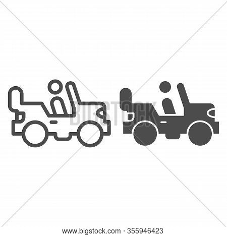 Army Vehicle Line And Solid Icon. Offroad Rover With Person, Car And Soldier Symbol, Outline Style P