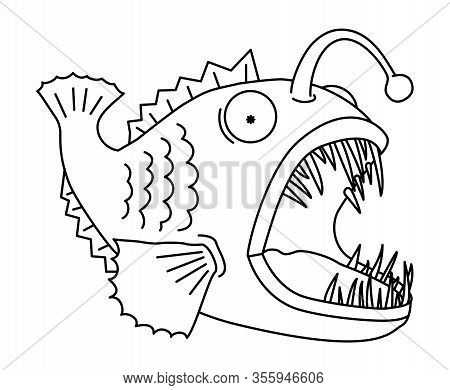 Anglerfish Shines With Its Fishing Rod Vector Outline Clipart. Angler Fish With An Open Mouth And La