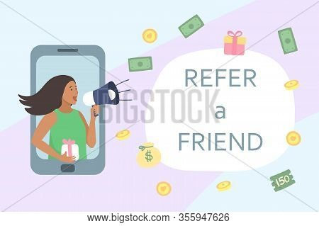 Refer A Friend Concept. Attract Friend. Dark Skinned Girl Shouts On Megaphone About Referral Program