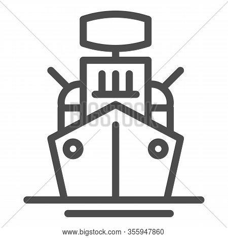 Warship Line Icon. Armed Ship, Sea Battleship Or Destroyer Symbol, Outline Style Pictogram On White