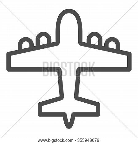 Bomber Airplane Line Icon. War Aircraft, Aerial Reconnaissance Army Plane Symbol, Outline Style Pict