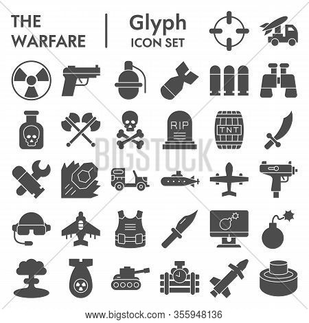 Warfare Solid Icon Set. Military Signs Collection, Sketches, Logo Illustrations, Web Symbols, Glyph