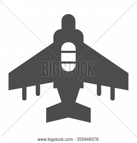 Fighter Plane Solid Icon. Military Aircraft, Reconnaissance Drone Symbol, Glyph Style Pictogram On W