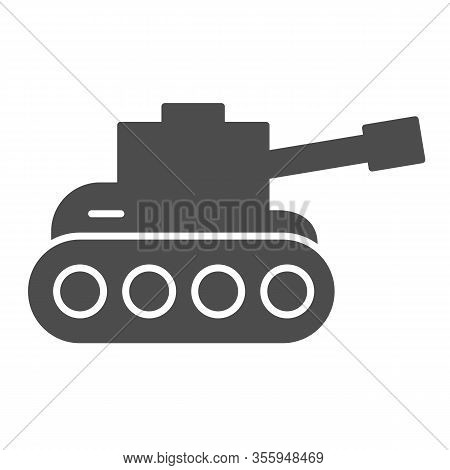 Tank Solid Icon. Army War Vehicle Silhouette Symbol, Glyph Style Pictogram On White Background. Warf