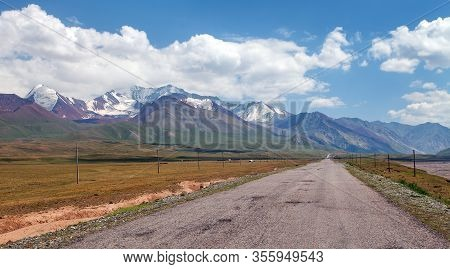 Beautiful Landscape Panorama Of Pamir Mountains Area In Kyrgyzstan. River Valley. Pamir Highway, Roo