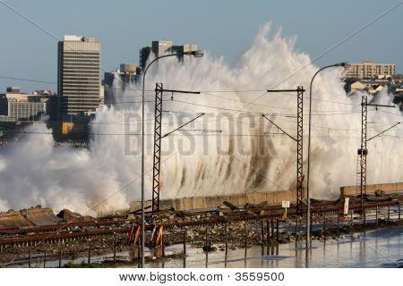 Coastal City Storm Waves