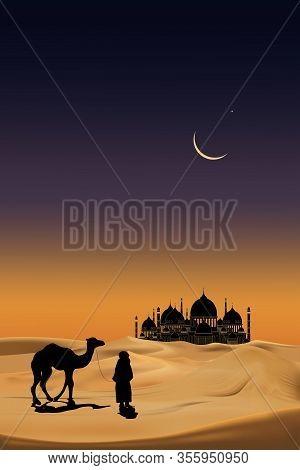 Arab People With Camels Caravan Riding In Realistic Desert Sands. Caravan Muslim Ride Camel To Mosqu