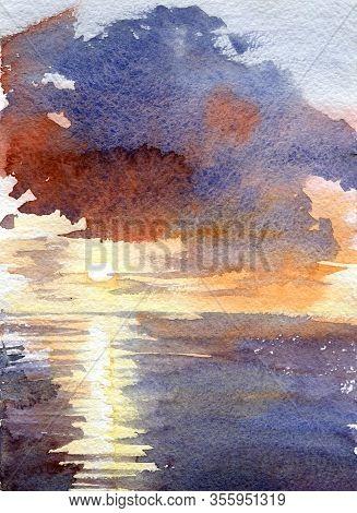Watercolor Blue Sunset Dawn Sun Rays Gentle Color Juicy Texture Illustration Landscape Reflection Sh