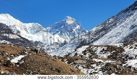 Top Of Mount Everest From Gokyo Valley  - Way To Everest Base Camp - Nepal Himalayas Mountains