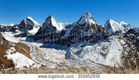 View Of Mount Cholo, Kangchung Peak And Nirekha Peak, Way To Cho Oyu Base Camp, Gokyo Valley, Sagarm