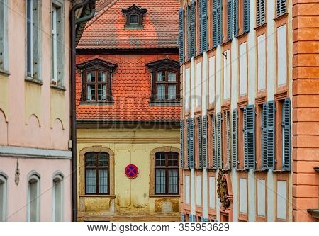 Old City In Germany. Travel In Europe. Beautiful Street Architecture