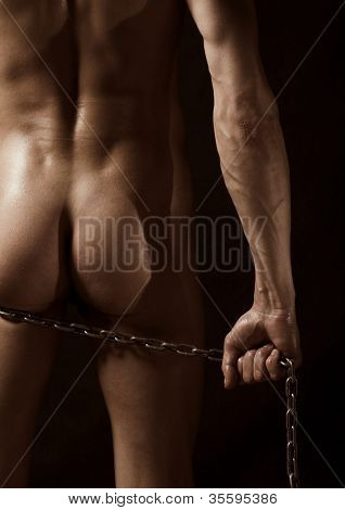 naked beautiful man standing back
