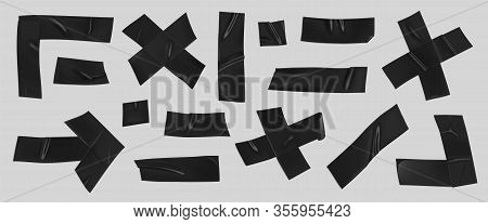Black Duct Tape Set. Realistic Black Adhesive Tape Pieces For Fixing Isolated On Grey Background. Sc