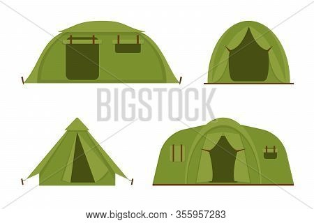 Tourist Camp Tents Set Isolated On White Background. Hiking And Camping Tents Vector Icons Illustrat
