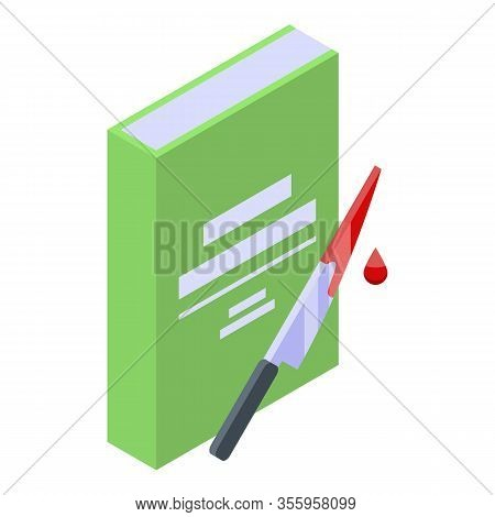 Thriller Book Icon. Isometric Of Thriller Book Vector Icon For Web Design Isolated On White Backgrou