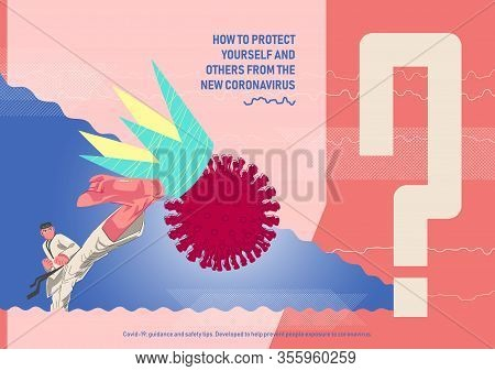Cover Concept Illustration, Poster On How To Protect Yourself And Others From The New Coronavirus.