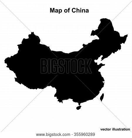 Map Of China With Regions And Cities. White And Black Graphic Illustration With Map Of China. Chines