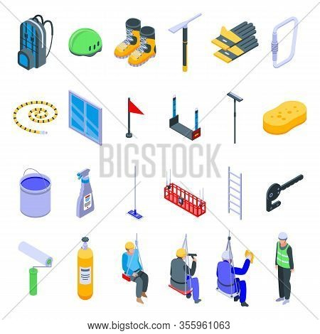 Industrial Climber Icons Set. Isometric Set Of Industrial Climber Vector Icons For Web Design Isolat