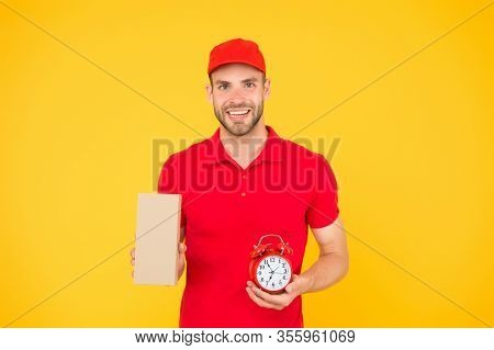 Get A Delivery With Us. On-time Delivery. Man In Uniform Hold Post Box And Alarm Clock. Delivery For