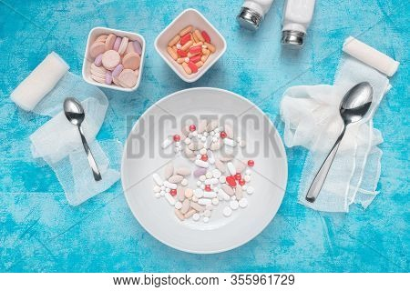 Medical Overuse Top View Flat Lay Concept With Plate Full Of Various Drugs