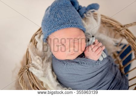 Lovely newborn sleeping in basket with toy in tiny hands