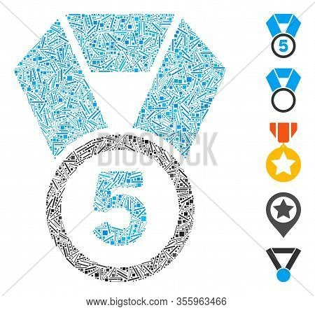 Dash Mosaic Based On 5th Place Medal Icon. Mosaic Vector 5th Place Medal Is Formed With Scattered Da