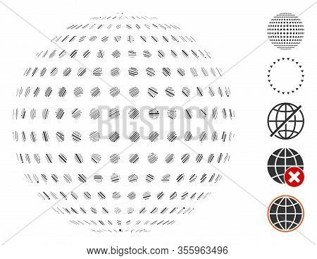 Line Mosaic Based On Abstract Dotted Sphere Icon. Mosaic Vector Abstract Dotted Sphere Is Created Wi