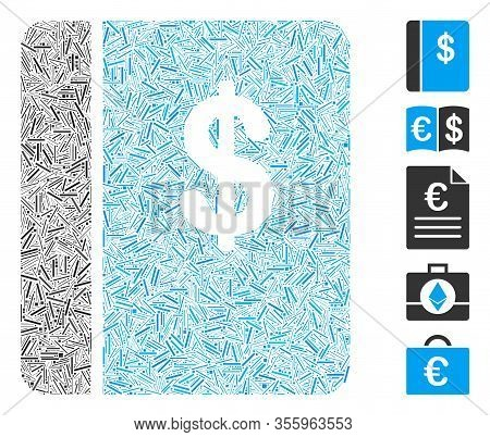 Hatch Mosaic Based On Accounting Book Icon. Mosaic Vector Accounting Book Is Created With Scattered