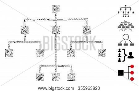 Line Mosaic Based On Algorithmic Tree Icon. Mosaic Vector Algorithmic Tree Is Composed With Random L