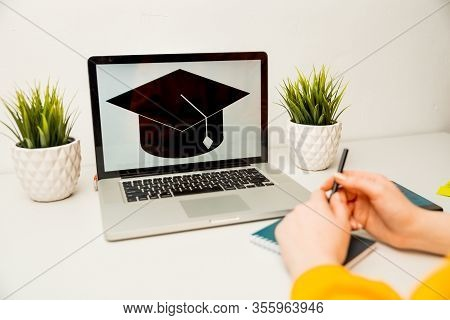 Girl Reading College Or University Application Or Document From School. College Acceptance Letter Or