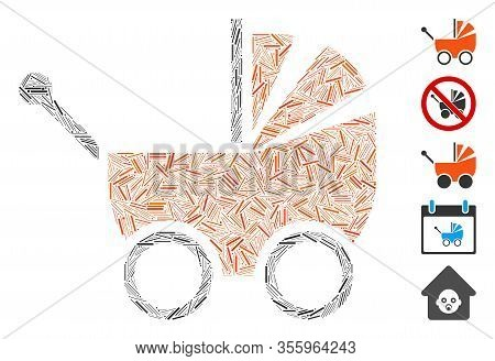 Hatch Mosaic Based On Baby Carriage Icon. Mosaic Vector Baby Carriage Is Designed With Scattered Hat