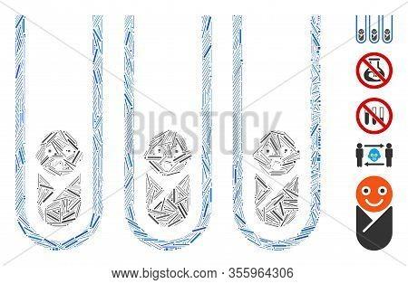 Line Mosaic Based On Baby Cloning Test-tubes Icon. Mosaic Vector Baby Cloning Test-tubes Is Created